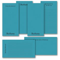 Take a note, make a list, jot a message - this personalized note pad set lets you do it all! You'll get six, blue note pads - two are lined to make those lists easy. The set comes in a cellophane bag with a ribbon to make a great gift. Fine Stationery, Stationery Items, Stationery Paper, Personalized Stationery, Personalized Gifts, Corporate Christmas Gifts, Practical Gifts, Lists To Make, Teacher Appreciation Gifts