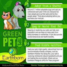 """EDUCATION. Education is the #1 goal for Earthborn Holistic® during Earth Week. We want YOU, our followers, to become informed on the many ways that YOU can give back to this precious Earth we live on! Earth Week is very important to our company because we truly believe in giving back to our customers, pets AND environment in as many ways possible! Here's a few tips on how you can do you part for the environment in a """"pet-friendly"""" way.  #GreenPetTips #DidYouKnow? #EarthWeek"""
