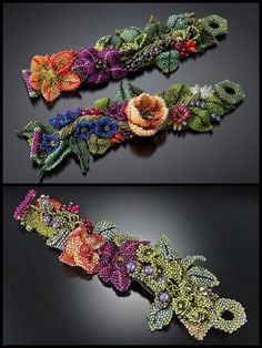 Beaded Bracelet Patterns, Beading Patterns, Beaded Bracelets, Necklaces, Jewelry Crafts, Jewelry Ideas, Creative Crafts, Beaded Flowers, Beaded Embroidery