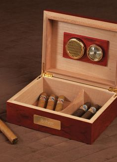 062bb411cde92 show off the groom s stogies of choice with this personalized cigar humidor.  a classic cherry