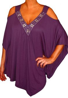 Funfash Plus Size Blouse Beads Angel Sleeves Women Plus Size Top Plus Size Shirt at Amazon Women's Clothing store: Blouses