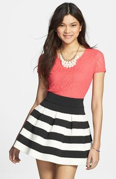 Frenchi® Lace Crop Top (Juniors) available at #Nordstrom