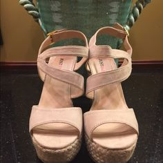 JustFab NWT wedge shoes size 9 NWT shoes have a 5 in wedge with ankle strap/buckle closure detail size 9 Tags attached no flaws (shoe tried on in store never worn) JustFab Shoes