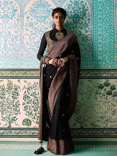 Black khadi and zari saree with antique zardosi border details paired with a full-sleeved blouse and a tilla work miniature gilet Sabyasachi Sarees, Indian Sarees, Lehenga, Anarkali, Netted Blouse Designs, Saree Blouse Designs, Blouse Patterns, Indian Dresses, Indian Outfits