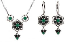 Chic Jewelry Set Necklace and Earrings by Lucia Costin with Flower Ornaments and 3 Stones Dangle Embellished with Green Black Swarovski Crystals and Lovely Charms 925 Sterling Silver * Details can be found by clicking on the image.(This is an Amazon affiliate link and I receive a commission for the sales)