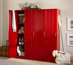 Modular Family Lockers - Red | Pottery Barn