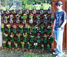 flower pots on pole | This was the wall of flowers I made into self watering flower pots,