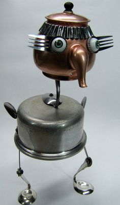 RECYCLED Repurposed ROBOT Sculpture Chicken by BranMixArt, $90.00