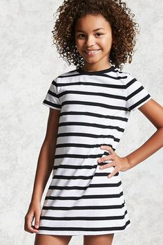 Forever 21 Girls - A knit T-shirt dress featuring allover stripes, short sleeves, a crew neck, and a chest patch pocket. Cute Outfits With Leggings, Cute Skirt Outfits, Cute Winter Outfits, Cute Outfits For Kids, Cool Outfits, Preteen Girls Fashion, Girl Fashion, Tween Girls, Forever 21 Girls