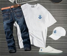 Lino Robles curated luxury from the shore to your town.. www.linolifestyles.com   Tee:  L Captain Flagship  Sneakers: Lino Hoist Flagship   Hat: L Flagship Cap   Jean: Lee Jeans