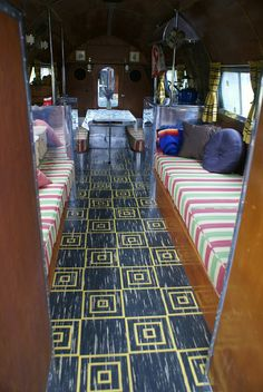 Interior of a Bowlus. Love the floor