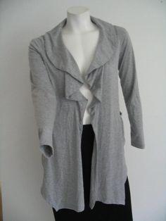 ISABELLA RODRIGUEZ  Open Front Cardigan Jacket Asymetrical Hem Gray Size S #IsabellaRodriguez