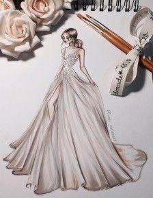 婚纱礼服图/手绘-堆糖,美好生活研究所