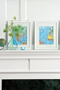 Switch around objects on your mantel or shelves to create a more visually pleasing arrangement. As a general rule, odd-number groupings are more interesting than evens. #decorideas #upcycledecor #homedecor #bhg