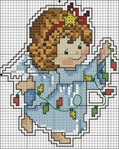 Xmas angel putting up the fairy-lights Stitch And Angel, Cross Stitch Angels, Xmas Cross Stitch, Cross Stitch Boards, Beaded Cross Stitch, Cross Stitch Baby, Counted Cross Stitch Patterns, Cross Stitch Designs, Cross Stitching