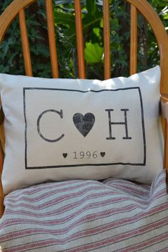 Couples InitalsPillow cover custom pillow hearts by FeatherHen, $22.00