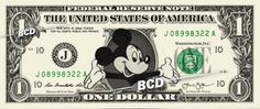 MICKEY MOUSE Disney - Real Dollar Bill Cash Money Collectible Memorabilia Celebrity Novelty by Vincent-the-Artist, $9.99 USD