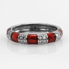 Hidalgo Ladies 14k White Gold 0.15ctw Diamond and Enamel Fashion Ring