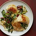 pierogies with sauteed cabbage and bacon