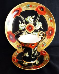 "Limoges Hand Painted Plate & Cup Saucer Set. decorated in red poppies on gold border with black center and green leaves. The plate and cup are signed ""Ross"" (Pickard artist Carl Roessler). Circa 1902-1910. Early 20th Century Porcelain China Chocolate Cup - But you could use it as a teacup tea cup espresso cup."