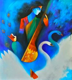 Saraswati Vandana Painting by Cashi # Saraswati Painting, Ganesha Painting, Saraswati Vandana, Saraswati Goddess, Indian Art Paintings, Abstract Paintings, Oil Paintings, Painting Abstract, Landscape Paintings