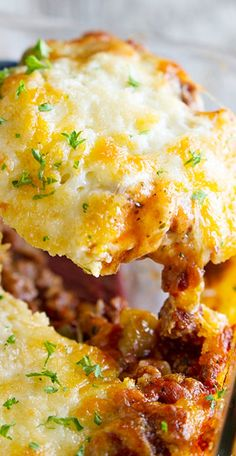 Puffed Up Pizza Casserole Recipe ~  easy, comforting and delicious!