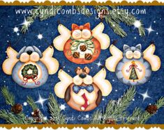 CC176 Furry Friends Angel Ornaments Painting E Pattern by Cyndi Combs