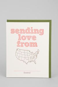 Love this card for when traveling:  Sending Love From _____ (fill in the blank) - cute idea for kids to send to their grandparents