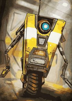 """Beautiful """"Claptrap"""" metal poster created by Durro Art. Our Displate metal prints will make your walls awesome. Borderlands Tattoo, Borderlands 1, Tiny Tina, Handsome Jack, Video Game Characters, Geek Art, Robots, Tattoo Ideas, Video Games"""