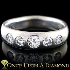 0 50ctw Round Diamond Bezel Set White Gold Wedding Band Anniversary Ring | eBay