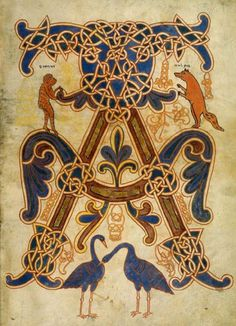 Illuminated manuscript miniature of a medieval bestiary from the Anglo-Norman period Book Of Kells, Celtic Patterns, Celtic Designs, Medieval Manuscript, Medieval Art, Renaissance Art, Illuminated Letters, Illuminated Manuscript, Celtic Art