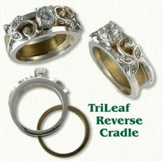 Tri Leaf 01: 14KW Tri Leaf Reverse Cradle set with a round brilliant cut diamond and six diamond melee in the leaves