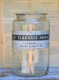 Beautiful Vintage French Jar with original label by ChalkFarmHome, $58.00