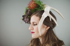 Statement Antler Headpiece Antler Flower by WeddingsByTrinity Flower Headpiece, Antlers, Greenery, Trending Outfits, Unique Jewelry, Handmade Gifts, Floral, Flowers, Wedding