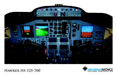 "Universal Avionics: Hawker HS 125-700 - (1) Display Suite: 3 EFI-890R 8.9"" Flat Panel Displays; (2) Situational Awareness: 1 Terrain Awareness and Warning System (TAWS), 1 Application Server Unit (ASU) for Jeppesen charts, checklists, weather and E-DOCS; (3) Flight Management: 2 UNS-1D+ FMSs with 5"" CDUs; (4) Radio Tuning and Communications: 2 Radio Control Units (RCU)"