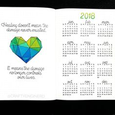 """162 Likes, 4 Comments - A Hayden (@craftyenginerd) on Instagram: """"New journal for 2018! My word of the year is """"heal"""". This is my first page. Inspired by a spread on…"""""""