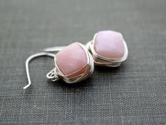 Pink Opal Bezel-Style Earrings - from Saressa Designs