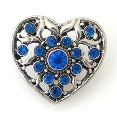 1 PC 18MM Blue Heart Rhinestone Chunk Pop Charm Zinc Silver Snap Popper Fits Bracelet Interchangeable kb8753 CC0922 Diameter Size: 18MM Material: Zinc Alloy and rhinestones