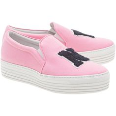 JOSHUA SANDERS NY Pink // Plateau slip ons ($285) ❤ liked on Polyvore featuring shoes, rose shoes, pink shoes, rubber sole shoes, leather slip on shoes and stretch leather shoes