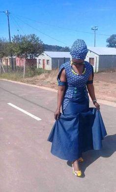 African clothing & shweshwe dresses 2019 - style you 7 Seshweshwe Dresses, African Dresses For Women, African Attire, African Fashion Dresses, African Women, Xhosa Attire, African Clothes, Fashion Skirts, Dress Outfits