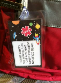 backpack identification for food allergies!