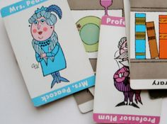 Vintage Clue game cards 1963 set of 21 by PaperCreationsbyDeb