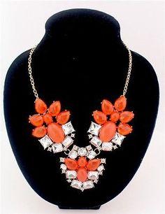 Bohemian Style Design Luxury Crystal Flower Bib Statement Choker Necklace