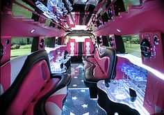 How cool is the inside of this limo? Pink and sparkly for an ultimate girls night out! #Houlihans #SoWinningThis