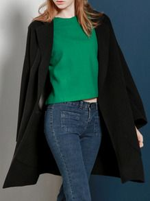 Black Lapel Long Dolman Coat