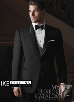 "<p style=""text-align: left;"">The Black 'Waverly' Tuxedo by Ike Behar is one of the most elegant formal options we have to offer.  Similar to the Black 'Braydon' Tuxedo by Ike Behar, it features a one button single-breasted front, shawl collar, satin besom pockets, and is fashioned from luxuriously soft Super 120's wool in a slim cut for a closer, more exacting fit.  The primary difference is that the 'Waverly' has a self lapel with satin trim.  This tuxedo is a beautiful formal option for…"