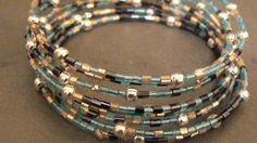 Memory wire seed bead wrap bracelet by JewelRiot