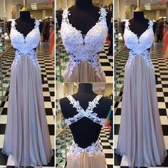 Gorgeous A-line Sweetheart Long Chiffon Prom Dress with Criss Cross Back