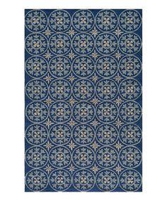 Another great find on #zulily! Blue Flower Circle Veranda Indoor/Outdoor Rug #zulilyfinds