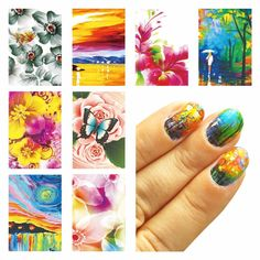 0.10$  Watch here - http://alifsj.shopchina.info/go.php?t=32775712903 - ZKO 1 Sheet Optional Oil Painting Flower Design Water Decals Water Transfer Foils Nail Art Sticker Nails Decorations Tools  #aliexpress